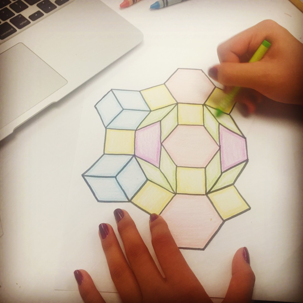 A student works on a tessellation project